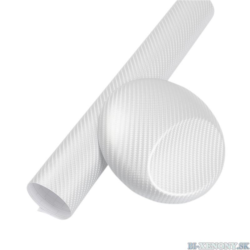 3D karbónová fólia biela