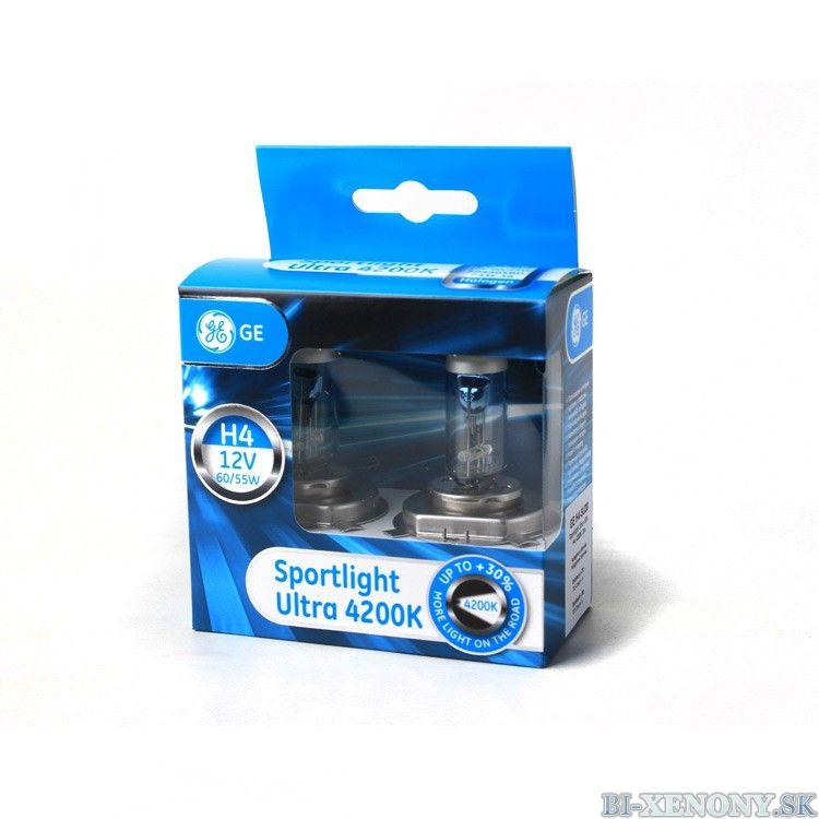 GE Halogénová žiarovka Sportlight Ultra +30%, H4, 4200K, 2ks