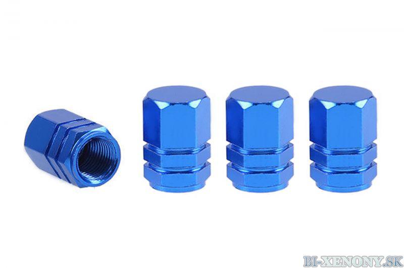 Hliníkové krytky na ventil modré 4 ks