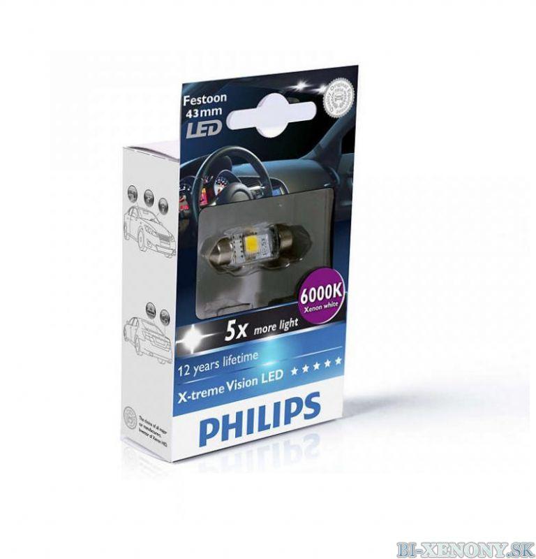 PHILIPS C5W X-tremeVision 12V 1W LED 6000K - 43mm