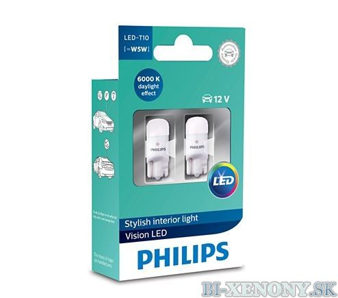 PHILIPS T10 LED 12V 0,9W Vision LED 6000K X2 1