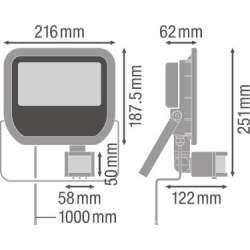 Osram Ledvance FLOODLIGHT 50 W 3000 K IP65 BK Senzor