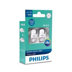 PHILIPS T10 LED 12V 0,9W Vision LED 6000K X2