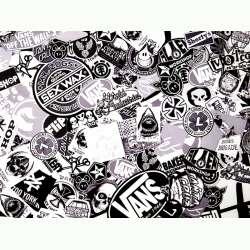 Sticker bomb 100cm x 152cm B&W